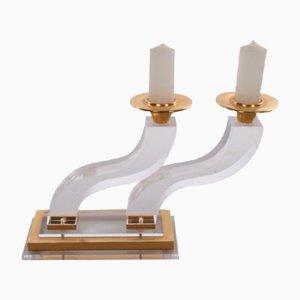 Plexiglas Gold Hollywood Regency Candlestick by Charles Hollis Jones