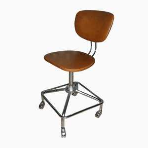 Vintage Orange & Brown Leatherette Swivel Chair