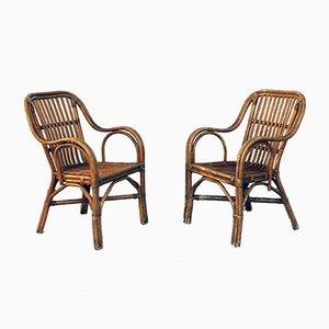 Italienische Mid-Century Modern Rattan Stühle mit Geschwungenen Armlehnen, 1960er, 2er Set