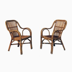 Mid-Century Italian Modern Rattan Chairs with Curved Armrests, 1960s, Set of 2