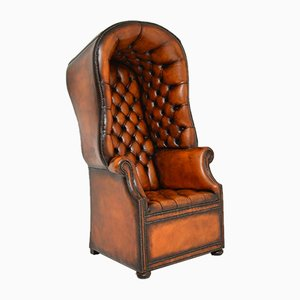 Georgian Style Leather Porters Armchair, 1950s