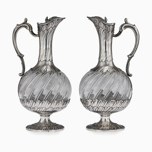 19th Century French Solid Silver & Glass Claret Jugs by Maison Odiot, 1890, Set of 2