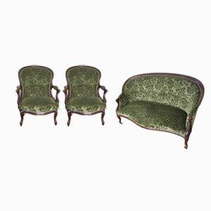Antikes französisches Set mit Sofa und Armlehnstühlen mit Bezug
