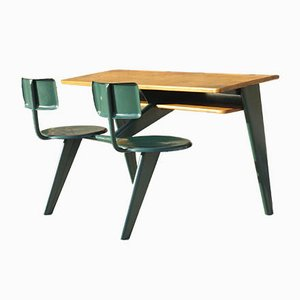 Office Model PP11 Tandem Schoolboy Desk by Jean Prouvé, 1938
