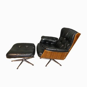 Mid-Century Plywood & Skai Lounge Chair with Ottoman, Set of 2