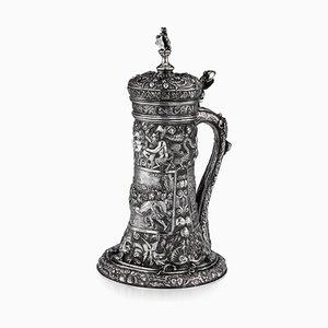 19th Century German Solid Silver Embossed Tankard, 1840