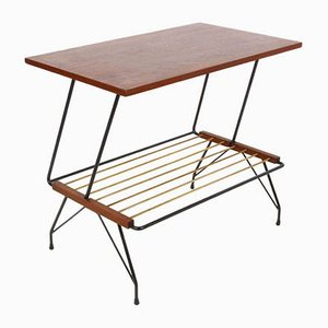 Italian Coffee Table with Brass Magazine Rack from Pizzetti, 1950s