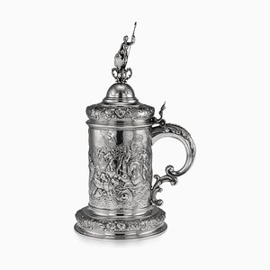 19th Century German Solid Silver Embossed Tankard by Weinranck and Schmidt, 1870