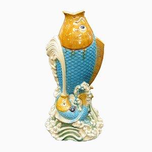 Riesige asiatische Glasierte Keramik Leaping Fisch Bodenvase