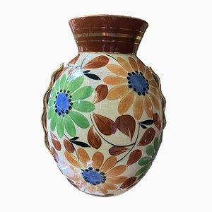 Belgian Art Deco Floral Vase by Raymond Chevalier for Boch Frères, 1940s