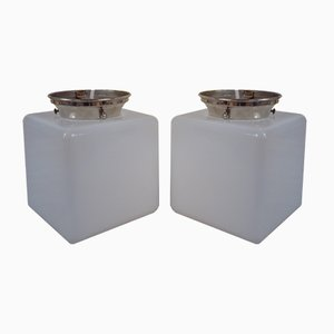 Modernistic Square Hallway Ceiling Lamps, 1930s, Set of 2