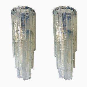 Applique Cascade in vetro di Murano opalino di Carlo Nason per Mazzega, anni '70, set di 2