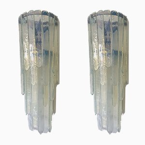 Italian Cascade Opal Murano Glass Sconces by Carlo Nason for Mazzega, 1970s, Set of 2