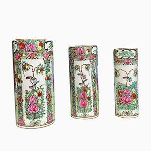 Antique Porcelain Animal & Floral Scene Vases, 1900s, Set of 3