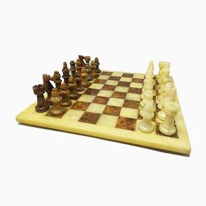 Italian Handmade Volterra Alabaster Chess Set, 1960s, Set of 33