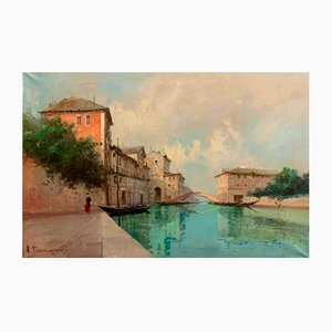 View of the Canal in Venice Oil on Canvas by Aldo Marangoni, 1920s
