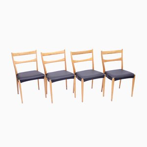 Scandinavian Oak Dining Chairs With Black Leather Seats, 1950s, Set of 4
