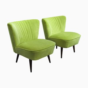 Hungarian Green Club Chairs, 1950s, Set of 2