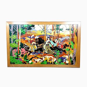 Large Multi-Layered Lacquered Wood Architectural Panel with Faux Enamel, 1950s