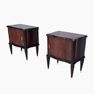 Mahogany Nightstands in the Style of Tomaso Buzzi, 1950s, Set of 2