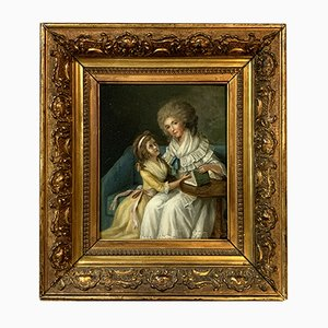 18th Century French School Reading Lesson Oil on Panel