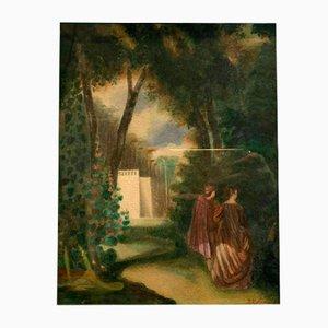 19th Century Park Watercolor by J.J Monnot