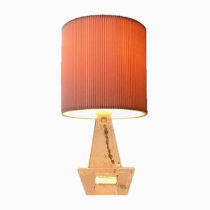 Vintage Swedish Table Lamp in Ice Glass from Ateljé Engberg, 1970s