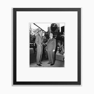 Hitchcock & Cary Grant on Set Archival Pigment Print Framed in Black by Everett Collection