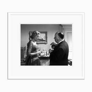 Grace Kelly & Alfred Hitchcock Archival Pigment Print Framed in White by Everett Collection