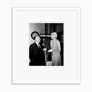 Hitchcock & Grace Kelly on Set Archival Pigment Print Framed in White by Everett Collection