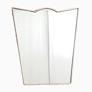 Mid-Century geschützter Wandspiegel mit Messingrahmen, 1950er
