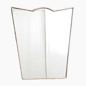 Mid-Century Shield Shaped Wall Mirror with Brass Frame, 1950s