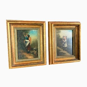 French School Children in Natural Landscapes Oil on Board Paintings, 1900s, Set of 2