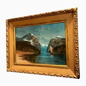 Große Ansicht der Alpen von the Lake Öl auf Leinwand von Willy Erik Helfert