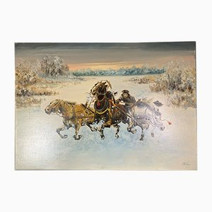 19th Century Russian School Ride in a Snowy Winter Landscape Painting
