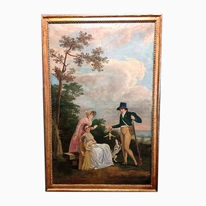 18th Century French School Partridges with Family Oil on Canvas