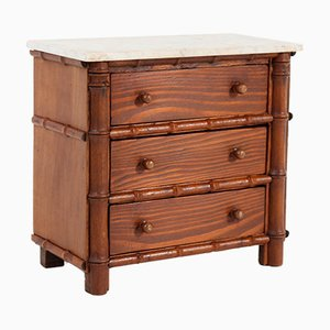 French Faux Bamboo & Pine Miniature Chest of Drawers with Marble Top, 1920s