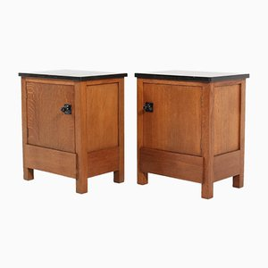 Art Deco Oak Amsterdam School Nightstands by H. Wouda for H. Pander & Zn., 1924, Set of 2