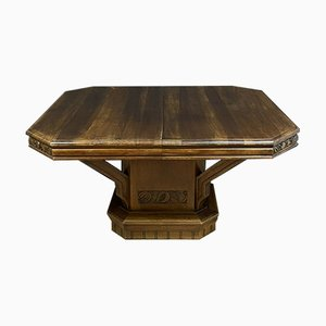 Art Nouveau Walnut Extendable Dining Table, 1920s