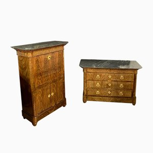 Restoration Period Mahogany Secretaire & Chest of Drawers, Set of 2