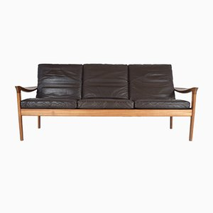 Leather and Teak Three-Seater Sofa by juul kristensen for glostrup mobelfabrik, 1960s