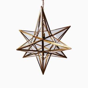 Vintage Star-Shaped Brass Chandelier