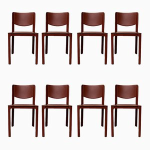 Vintage Saddle Leather Dining Chairs by Tito Agnoli for Matteo Grassi, Set of 8