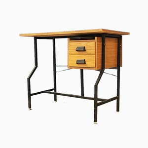 Mid-Century Italian Modern Laminate and Metal Writing Desk With Drawers, 1960s