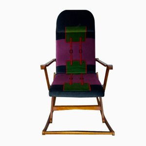 Mid-Century Rocking Chair with Roberta di Camerino Fabric