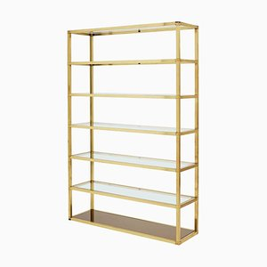 Mid-Century Brass and Glass Shelf, 1970s