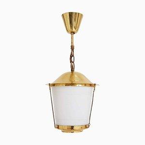 Mid-Century Brass and Glass Lantern, 1970s