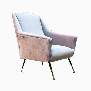 Italienischer Mid-Century Modern Sessel aus Grauem Stoff & Metall mit Armlehnen, 1960er