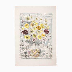 Michele Cascella, Flowers Lithograph, 1971