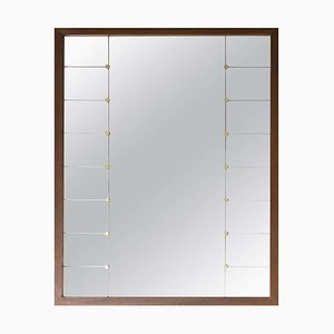 Large Mid-Century Oak and Brass Mirror by Glas & Trafrom, 1950s